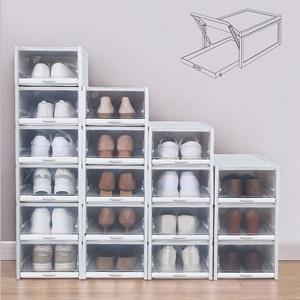 Image 2 - 3Pcs Eco Friendly Shoe Storage Box Case Transparent Plastic Rectangle Pp Organizer Thickened Drawer