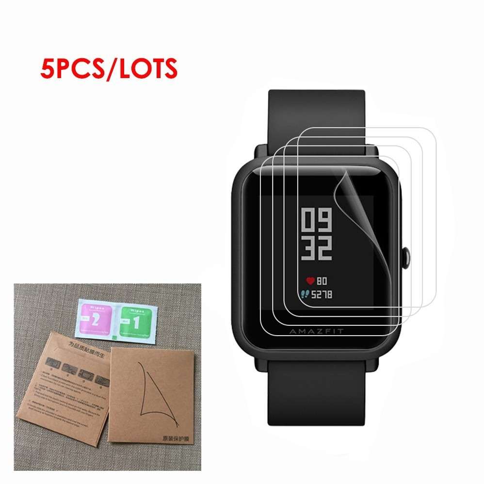 5Pack For Xiaomi Huami Amazfit Bip BIT PACE Lite  Smart Watch Film High Definition Full Coverage Soft TPU Screen Protector