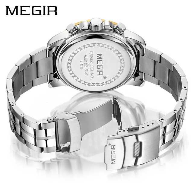 MEGIR Men's Top Brand Business Chronograph Stainless Steel Waterproof Quartz Watches 1