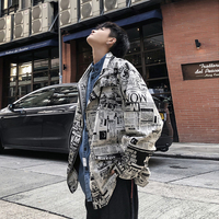 Men's jacket spring 2019 new lapel slim European and American print jacket loose jacket personality youth casual men's wear