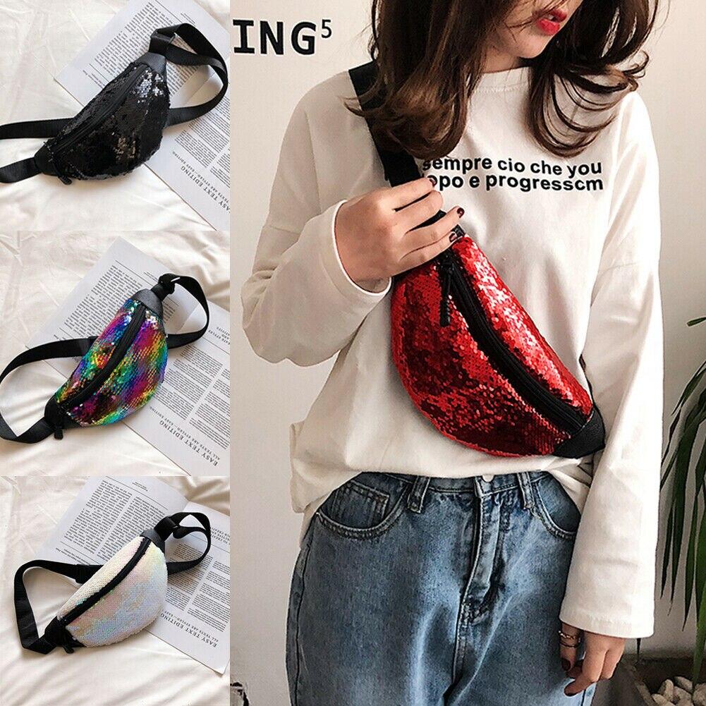 Women/'s Sequins Travel Waist Pack Holiday Money Belt Wallet Mini Bum Bag Pouch