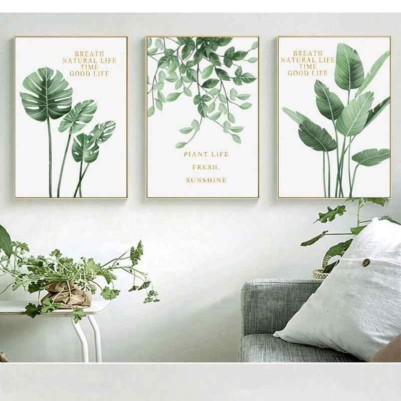 Northern Europe Canvas Wall Art Printing Fresh Green Plants Golden Letter Decorative Painting Study Decorative Picture Core