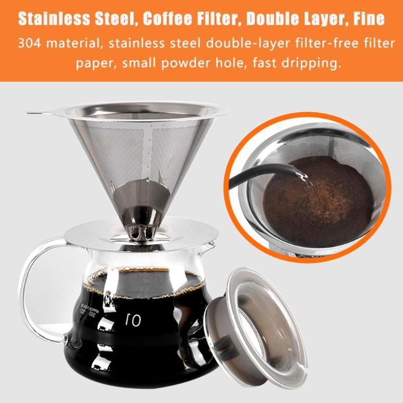 Reusable Coffee Filter Stainless Steel Coffee Filter Double Layer Fine Drip Filters V60 Coffee Filter Cup
