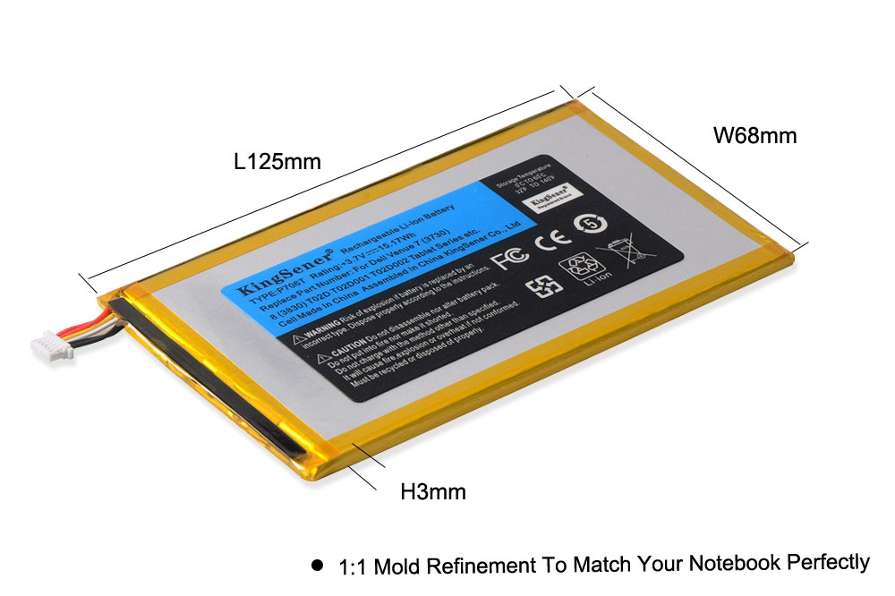 KingSener P706T New Tablet battery for DELL Venue 7 3730 Venue 8 3830 T02D T01C T02D002 T02D001 0CJP38 02PDJW 3 7v 15 17wh in Laptop Batteries from Computer Office