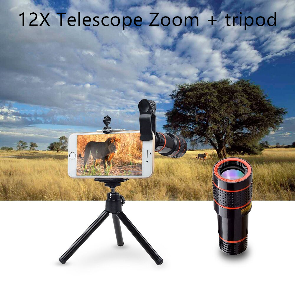 12X Telescope Zoom Mobile Phone Lens for iPhone Samsung Smartphones universal cl