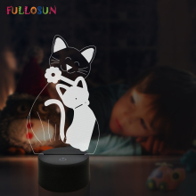 Colorful 3D Illusion LED Night Light Cats Lamp Kids Baby Bedside for Novelty Christmas Gift