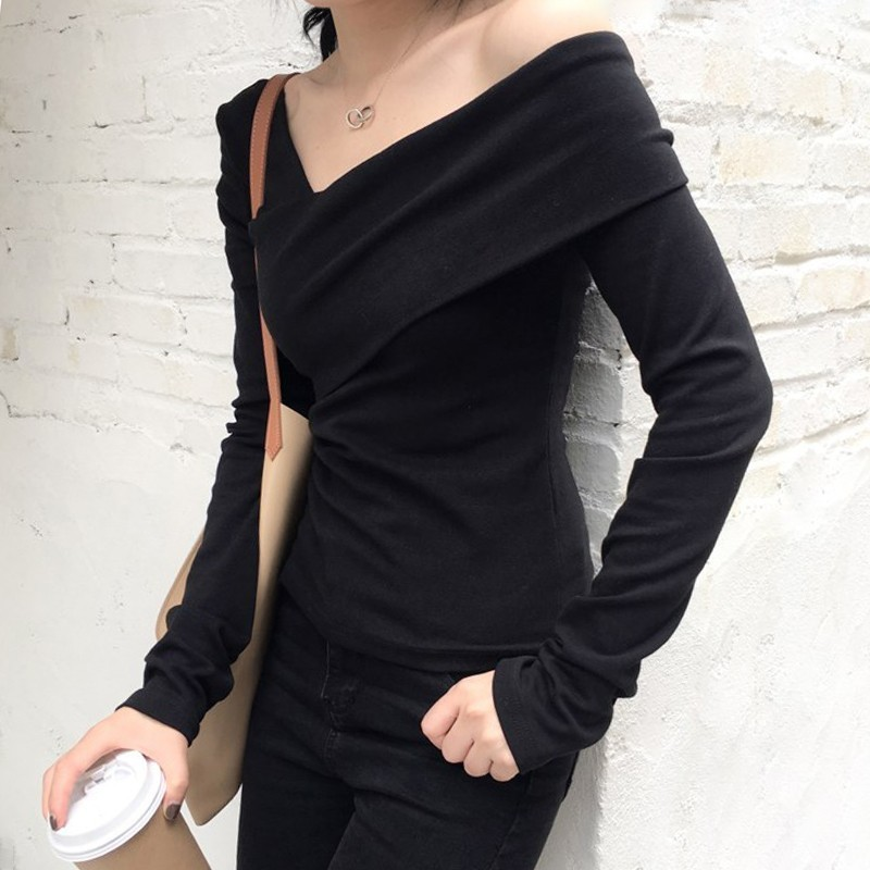 TWOTWINSTYLE Casual Off Shoulder T-shirts Women Slim Long Sleeve Irregular Black Sexy Tops Female 2019 Autumn Korean Fashion