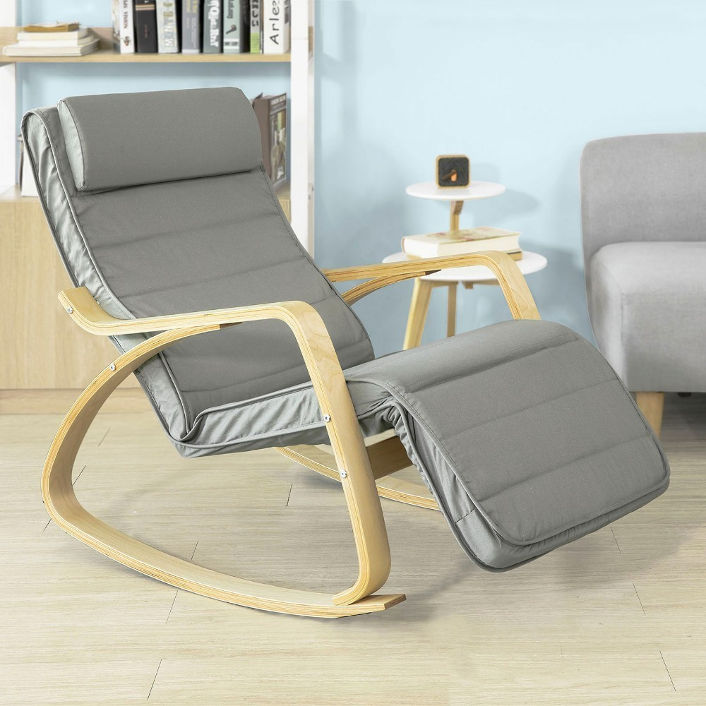 Comfortable Relax Rocking Lounge Chair Recliner With Footrest Design SoBuy FST16-DG