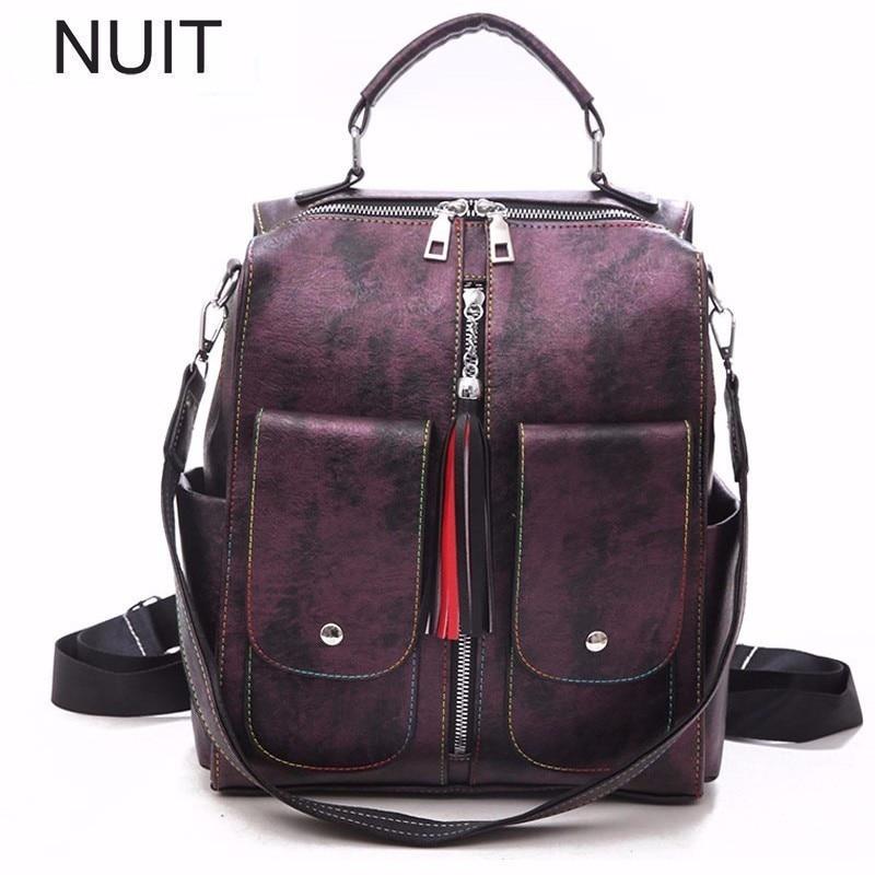 Luxury Female Backpack Bag Shoulders Schoolbag Woman Soft Pu Leather College Student Fashion Backpack Bags Mochila Plecak