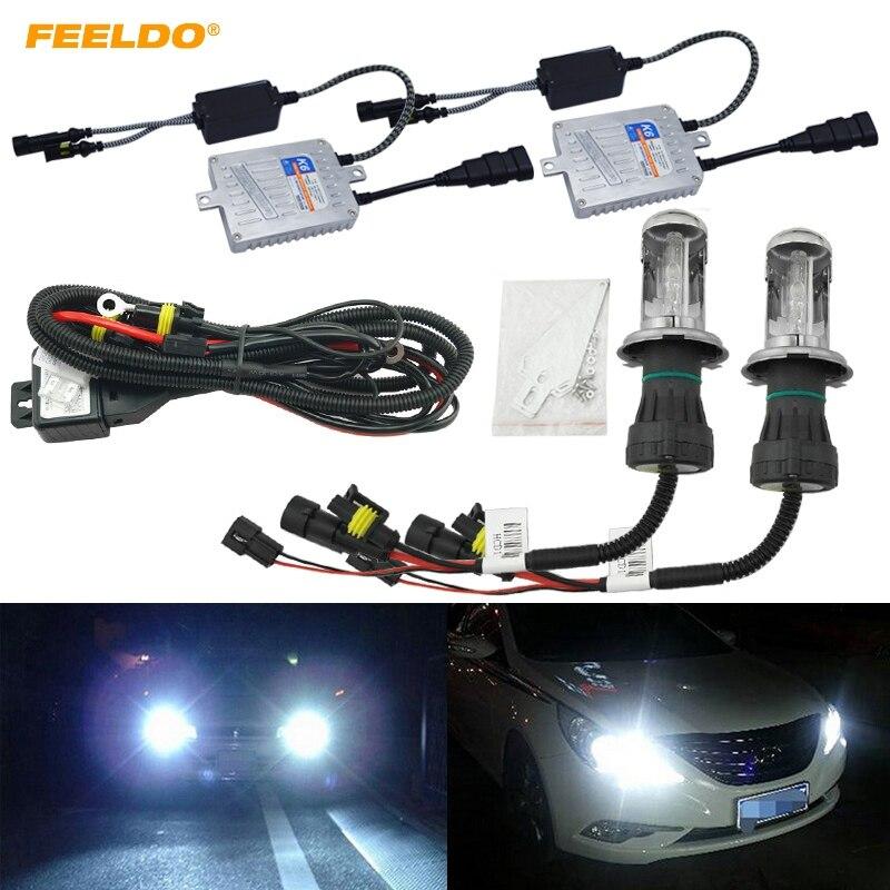 FEELDO 1 satz Auto Scheinwerfer AC 12 v 55 watt H4 HID Xenon Birne Hallo/Lo Strahl Bi xenon Lampe Licht Dünne Drossel HID Kit # AM4485