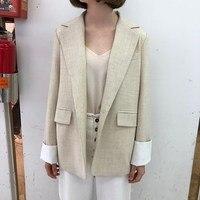 Women Suit Jacket Women Formal Loose Jacket Coat Vintage One Buttons Office Ladies Blazer Long Sleeve Women Blazers
