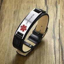 US Warehouse Dropship Type 1 and 2 Diabetes Men Medical Alert ID Bracelets Genuine Leather Wristband Adjustable Men's Jewelry