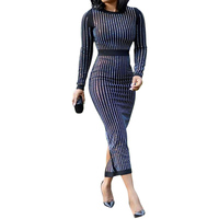 2018 Women Striped Mesh Sequin Dress Long Sleeve Autumn Winter Dress Winter Midi Sexy Club Party Dresses With Belt Vestidos