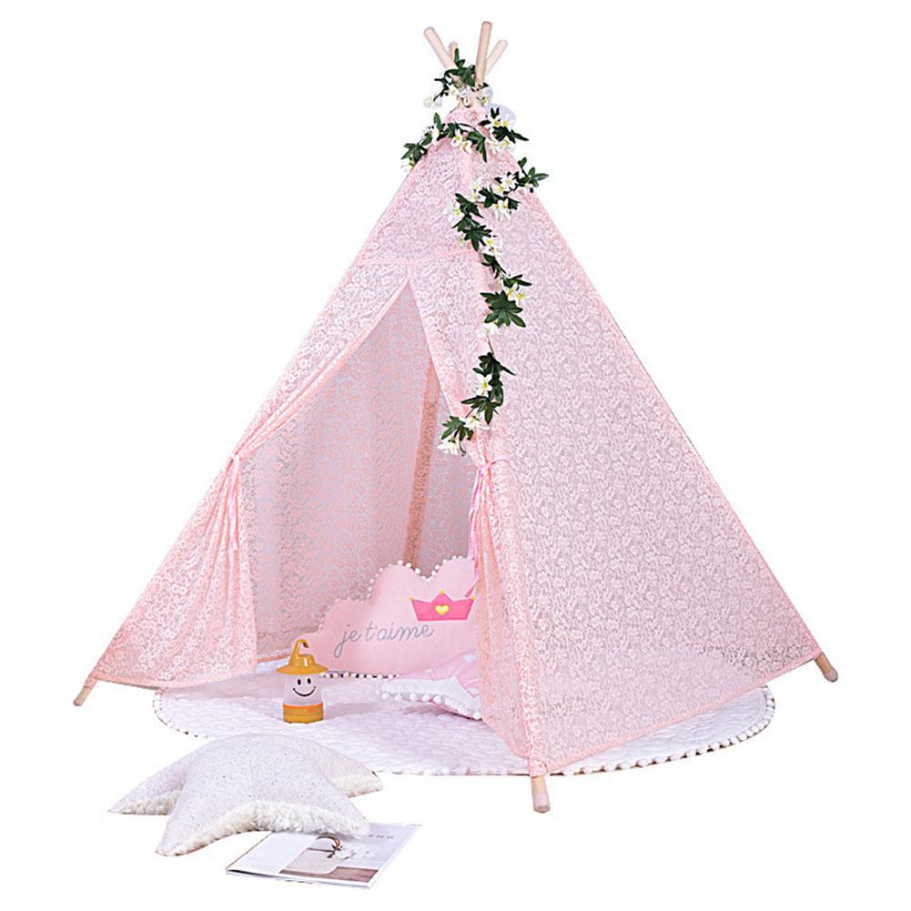 Tentes pour enfants Portable pliant luxe dentelle princesse château tente enfants maison de jeu indien Triangle tentes enfants cadeau - 4