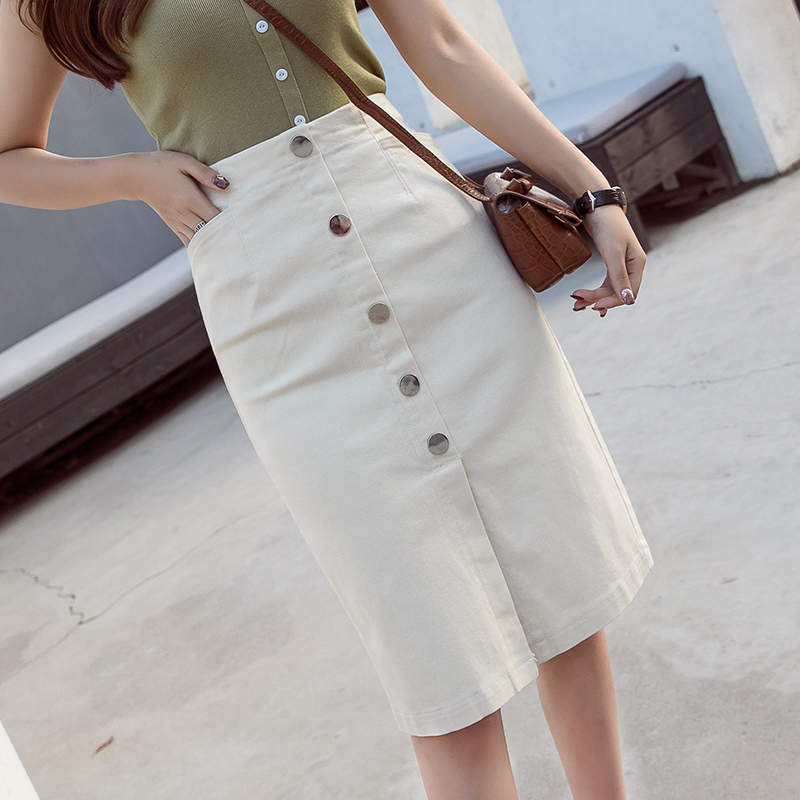 2019 New Waist High Single Breasted Women Casual Streetwear Stretch Skinny Jean Skirt Woman White Denim Pencil Skirt Pockets