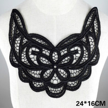 Fashion White Black Lace Fabric Embroidery Flowers Applique Guipure Collar Neckline DIY Trim Women Dress Clothing Sewing Decor