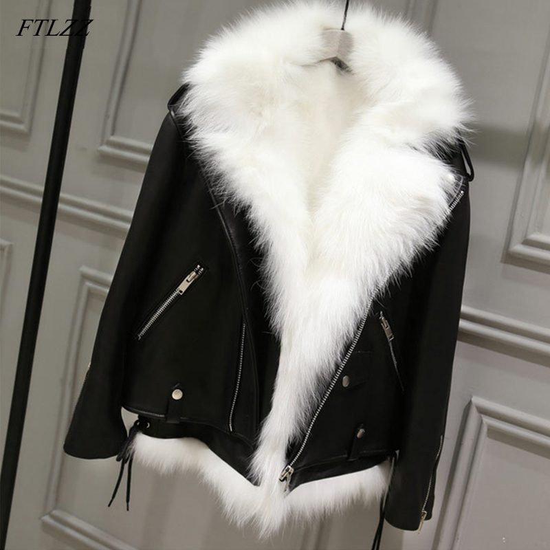 FTLZZ Winter Pu   Leather   Jackets Women White Faux Fur Vest+ Black Faux   Leather   Streetwear Short Coat Female Snow Outerwear