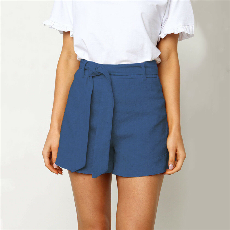 Summer Women Shorts Fashion Solid Color Lace Up High Waist Shorts Casual Ladies Shorts Streetwear Women Wear  Short Feminino