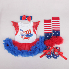 Independence day little girls clothing 4th of july outfit 4pcs baby girl newborn clothes christmas set fashion cotton