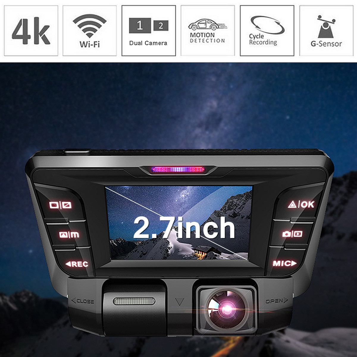 Wifi 1080P 4K HD Hidden Dash Cam Dual Car DVR Camera Video Recorder 2 7inch 16