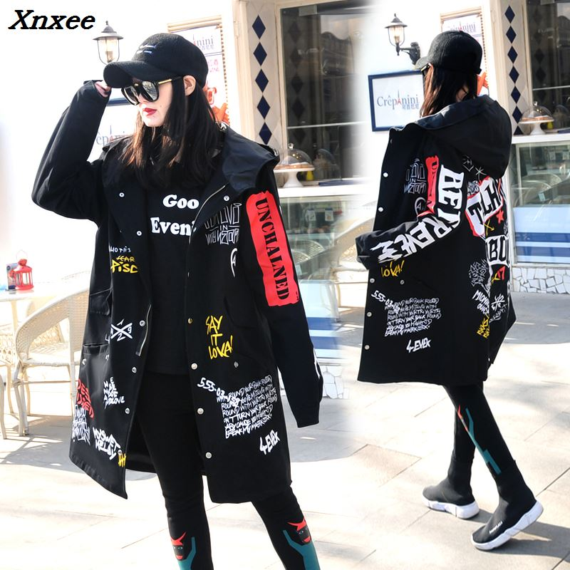 Women's 2018 Spring Hip-hop Letter-printed Windbreaker BF Hooded   Trench   Coat Xnxee