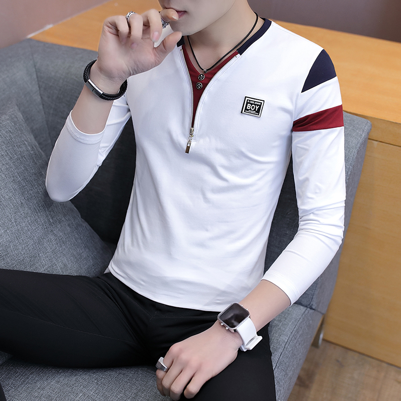 2019 Spring T-Shirt Men Long Sleeve Casual Zipper T Shirts Self-cultivation Design Simple T Shirt Brand New Round Neck Homme 4