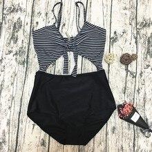 Sexy Striped Swimsuit Waist Hollow Design Swimwear Women Adjustable Push Up Bikini Set Backless Bathing Suit For Swim