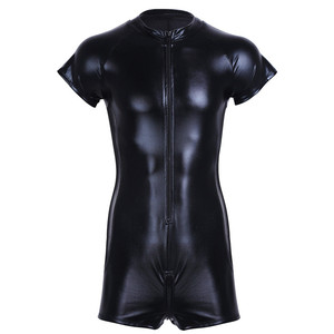 Image 3 - Wet look latex Catsuit Faux Leather Mesh Jumpsuits Sexy Lingerie Men Black Stretch PVC Bodysuits Clubwear Open Crotch Body Suit