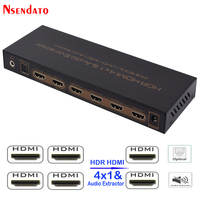 4K*2K HDR HDMI Matrix 4X1 HDMI 2.0 Switch Splitter Audio Extractor For DTS Dolby ARC SPDIF 4 In 1 Out HDMI Converter For PS3/PS4
