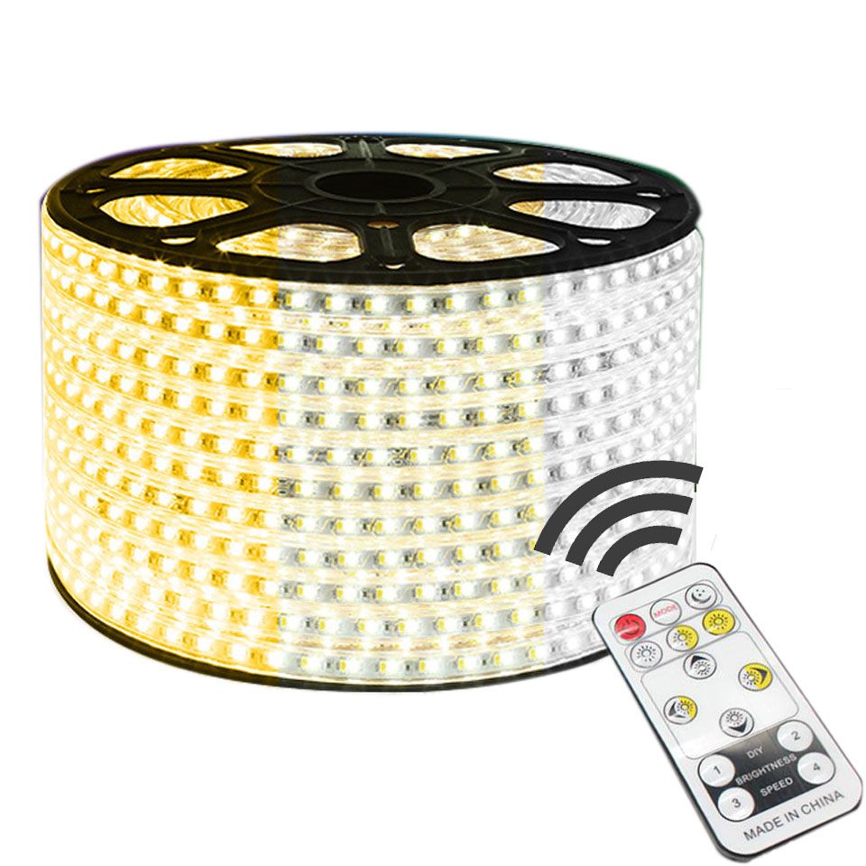 1-14M Dual Color Changeable 5730 LED Strip Light  WW+Blue CW+WW 220V IP67 Waterproof LED Tape 88LEDs/ M Dimmable LED Strip Light