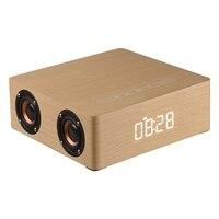 Wooden Bluetooth Alarm Clock Speaker 3600mAh Battery Support Audio Input TF Card