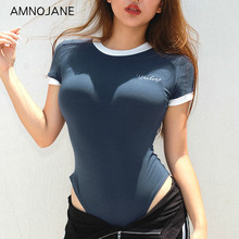 amnojane Body Sculpting Cotton Clothes Alphabet Embroidery Round Neck Short Sleeve