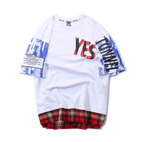 Guochao street hip hop hiphop letters graffiti printing short sleeved t shirt men's tide brand fake two loose half sleeve tee