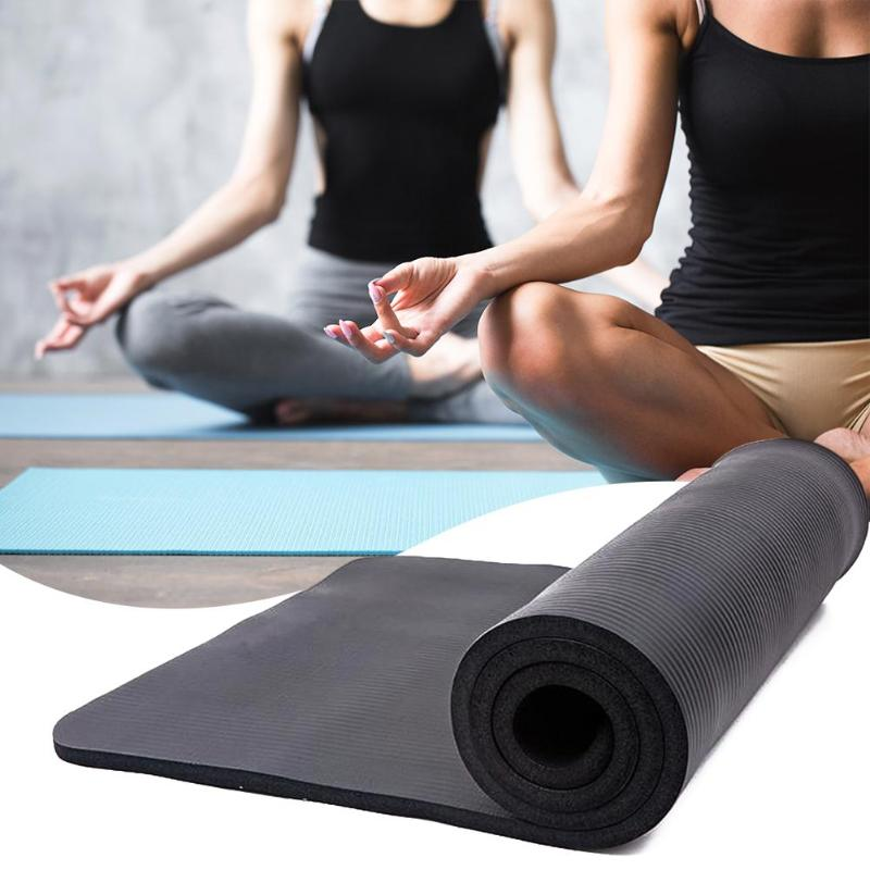 15mm d'épaisseur NBR couleur Pure tapis de Yoga anti-dérapant 183x61x1.5 cm noir perte de poids façonnage extérieur intérieur Yoga équipement de Fitness