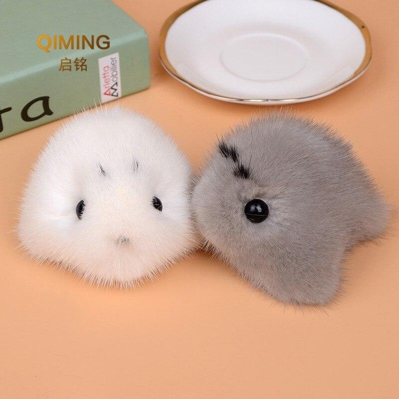Nouveau 100% vison cheveux fourrure joint sac à dos femmes accessoires fourrure ornements Anime mignon fille cadeau en peluche pendentif