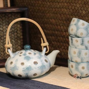 Japanese tea pot teapot cup combination suit ceramic Kung Fu porcelain tea set handmade teaware kettle vintage gift box