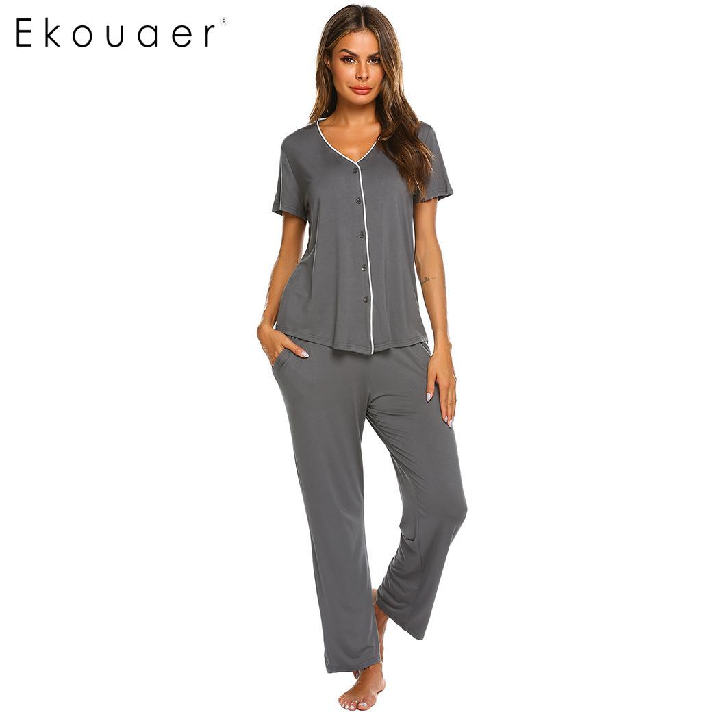 Ekouaer Women Cotton Sleepwear Summer Pajama Casual V-Neck Short Sleeve Contrast Color Buttons Loose Pajamas Set