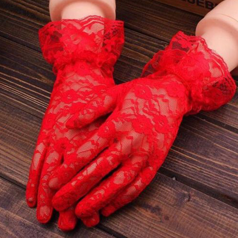 Summer Black Lace Gloves Women Vintage Elastic Sun Protection Solid Sunscreen Gorgeous Pink Finger Gloves Accessories Wholesale