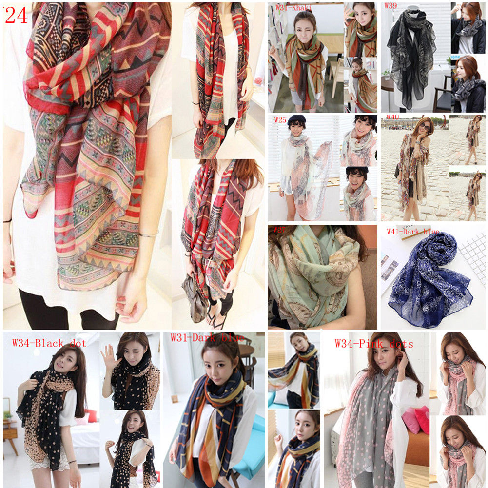 2018 Brand New Women Soft Long Neck Large Scarf Wrap Shawl Pashmina Stole Scarve Chiffon Cotton(China)