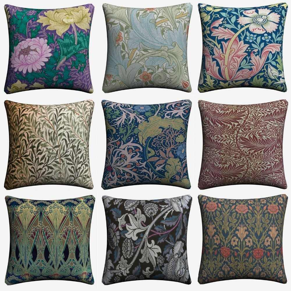 William Morris Abstract Pattern Decorative Pillow Case For Sofa 45x45cm Linen Cushion Cover Home Decor Throw Pillowcase Almofada