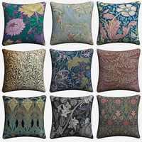 William morris padrão abstrato decorativo fronha para o sofá 45x45cm capa de almofada de linho decoração para casa lance fronha almofada