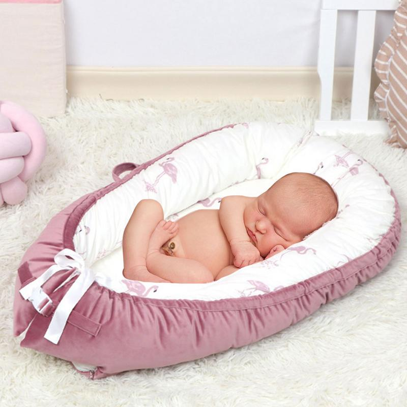 Baby Nest Bed Crib Portable Removable And Washable Crib Travel Bed For Children Infant Kids Flannel Cotton Velvet Cradle Mattres