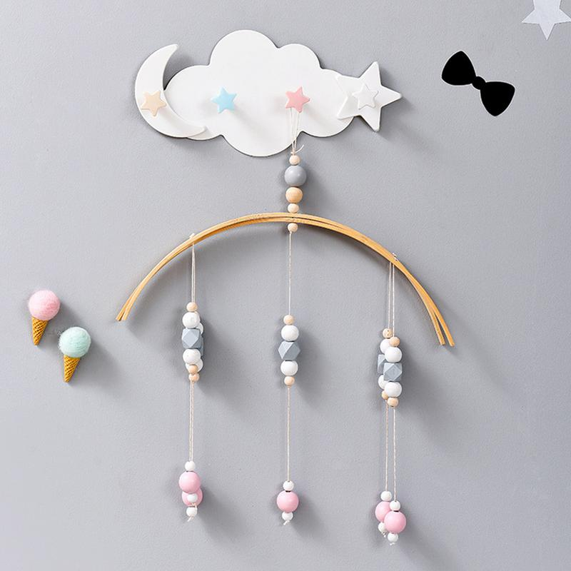 Wall Mounted Key Holder Creative Star Moon Cloud Shape Nail Free 4 Hooks Bathroom Moisture Proof Multi Functional Hooks Decor