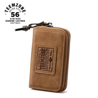 Teemzone Men Genuine Leather Key Holder Brand Cowhide Key Wallet Zipper Large Capacity Purse High Quality Free Ship