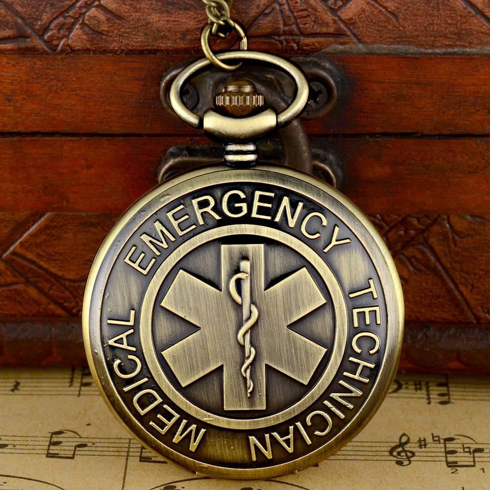Classic Vintage Bronze Emergency Medical Technician Quartz Pocket Watch With Chain Retro Men Women  Pendant Necklace Clock  Gift