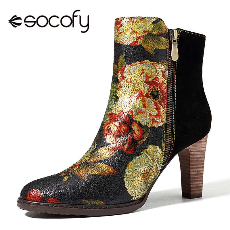 Socofy Splicing Genuine Leather Boots Women Shoes Winter Bohemian Vintage Flower Printed Suede Ankle Boots Zipper High Heels New-in Ankle Boots from Shoes    1