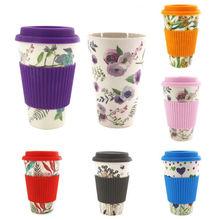 Многоразовые кружки из костяного фарфора, керамические кружки для путешествий, чая, кофе, кружка для путешествий, чашка с силиконовой крышкой