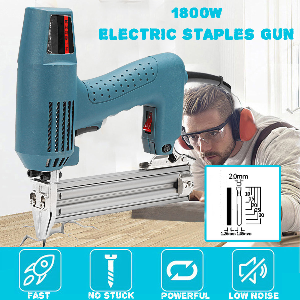 Electric Nailer 10-30mm 220V 1800W Framing Tacker Electric Nail Staple For Guns Woodworking Tool DIY Hand Tool