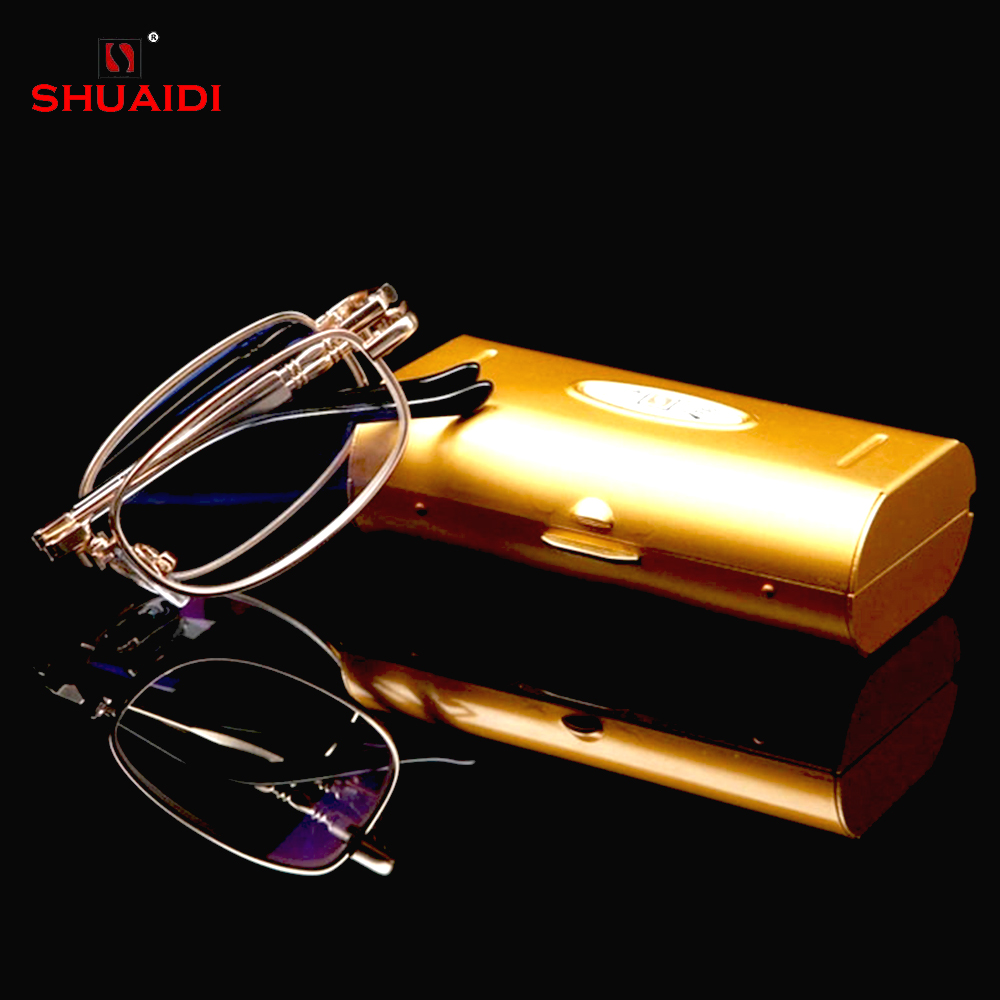 = SHUAI DI = Gold Nickel-Copper Alloy Frame Čitanje naočale Ultra-Light Prijenosni Fold Full-Rim naočale +0.5 +0.75 +1 TO +6