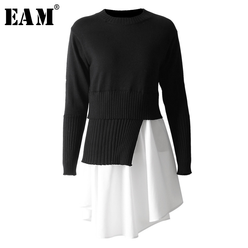 [EAM] Yellow Asymmetrical Big Size Knitting Sweater Loose Fit High Collar Long Sleeve Women New Fashion Autumn Winter 2019 WB519